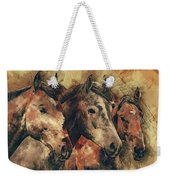 Galloping Wild Mustang Horses Weekender Tote Bag