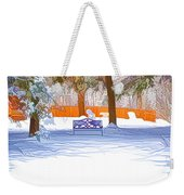 Garden  Bench With Snow Weekender Tote Bag