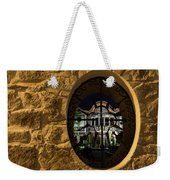 Illuminated Night View - Beautiful Revival House Through A Fence Window Weekender Tote Bag