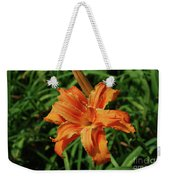 Garden With A Blooming Double Daylily Flowering Weekender Tote Bag