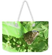 Garden With A Blue Morpho Butterfly With Wings Closed Weekender Tote Bag
