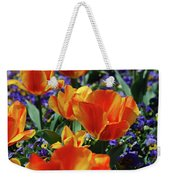 Garden With Blooming Yellow And Red Tulip Blossoms Weekender Tote Bag