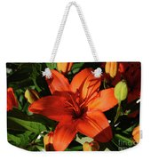 Garden With Lily Buds And A Blooming Orange Lily Weekender Tote Bag