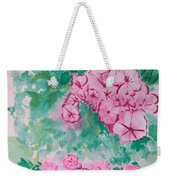 Garden With Pink Flowers Weekender Tote Bag