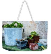 Gardening Pots And Small Shovel Against Stone Wall In Primosten, Croatia Weekender Tote Bag
