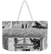 Gate To Ranchos Church Black And White Weekender Tote Bag