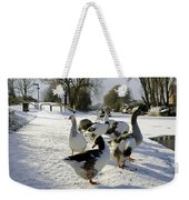 Geese At The Frozen Horninglow Basin Weekender Tote Bag