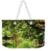 Geese By Pond In Autumn Weekender Tote Bag