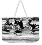 Geese On Ice Taking Flight Weekender Tote Bag