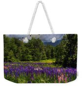 Geese Over Lupine Field Weekender Tote Bag