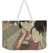 Geisha And Attendant On A Rainy Night Weekender Tote Bag