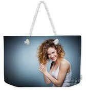 Geniue Portrait Of A Young Positive, Smiling Girl. Weekender Tote Bag