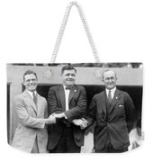 George Sisler - Babe Ruth And Ty Cobb - Baseball Legends Weekender Tote Bag by International  Images