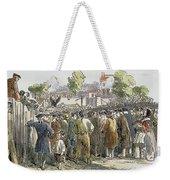 George Whitefield /n(1714-1770). English Evangelist, Preaching To A Crowd: Engraving, 19th Century Weekender Tote Bag