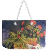 Geranium And Fern Still Life Weekender Tote Bag
