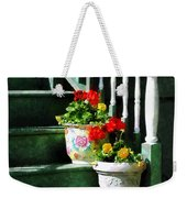 Geraniums And Pansies On Steps Weekender Tote Bag