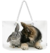 German Shepherd And Rabbit Weekender Tote Bag by Mark Taylor