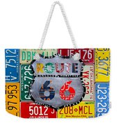 Get Your Kicks On Route 66 Recycled Vintage State License Plate Art By Design Turnpike Weekender Tote Bag