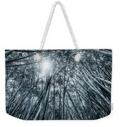 Giant Bamboo In Forest With Sunflare, Black And White Weekender Tote Bag