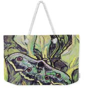 Giant Peacock Moth On Arum Weekender Tote Bag