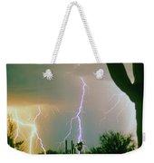 Giant Saguaro Cactus Lightning Storm Weekender Tote Bag