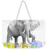 Gift Wrapping Elephant Weekender Tote Bag