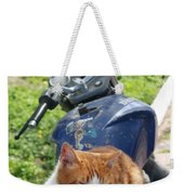 Ginger And White Tabby Cat Sunbathing On A Motorcycle Weekender Tote Bag