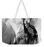 Giraffe Abstract Art Black And White Weekender Tote Bag
