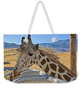 Giraffe At Feeding Station In Living Desert Zoo And Gardens In Palm Desert-california Weekender Tote Bag