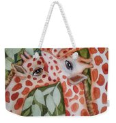 Giraffe Trio By Christine Lites Weekender Tote Bag by Allen Sheffield