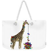 Giraffe With Colorful Rainbow Butterflies Weekender Tote Bag