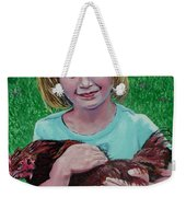 Girl And Chicken Weekender Tote Bag
