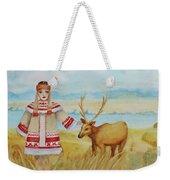 Girl And Deer Weekender Tote Bag