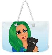 Girl And Dog Pet Weekender Tote Bag