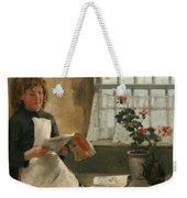 Girl In A Cottage Window Weekender Tote Bag
