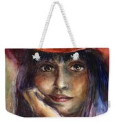 Girl In A Red Hat Portrait Weekender Tote Bag
