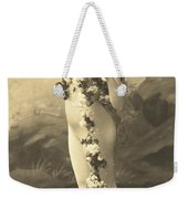 Girl In Body Stocking Holding Garland Of Flowers Weekender Tote Bag