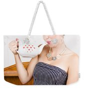 Girl In Cafe Serving Hot Coffee With Heart Teapot Weekender Tote Bag