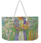 Girl In Monet's Garden At Giverny Weekender Tote Bag