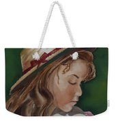 Girl In Ribboned Straw Hat Weekender Tote Bag