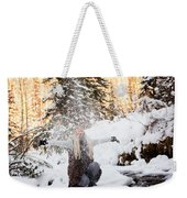 Girl Playing In The Snow In The Woods Weekender Tote Bag