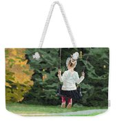 Girl Playing Outside Weekender Tote Bag
