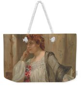 Girl - Sensuousness - Beauty - Vintage - Wall Art - Art Print - Serenity - Flowers Weekender Tote Bag