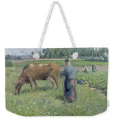 Girl Tending A Cow In Pasture Weekender Tote Bag by Camille Pissarro