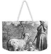 Girl Tending Sheep Weekender Tote Bag