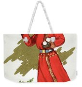 Girl Throwing Snowballs In A Christmas Landscape Weekender Tote Bag
