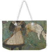 Girl With A Goat  Weekender Tote Bag