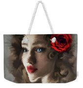 Girl With A Red Rose.. Weekender Tote Bag