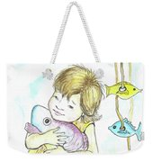 Girl With A Toy-fish Weekender Tote Bag