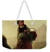 Girl With Basket Weekender Tote Bag